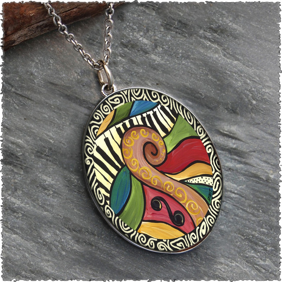 Abstract Music Reversible Silver Oval Pendant