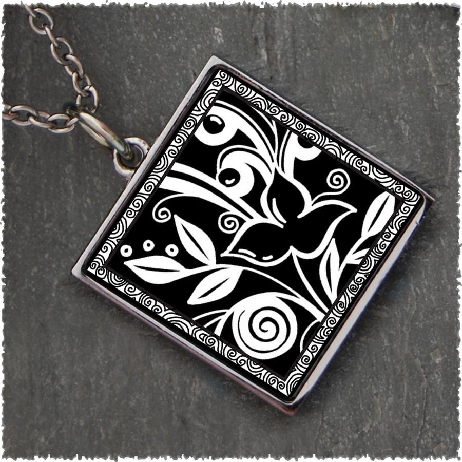 Flower Black Reversible Square Pendant