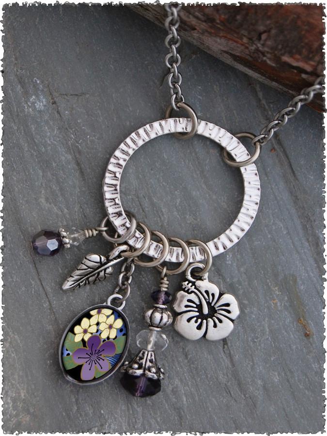 Purple Flower Pewter Circle of Life Pendant