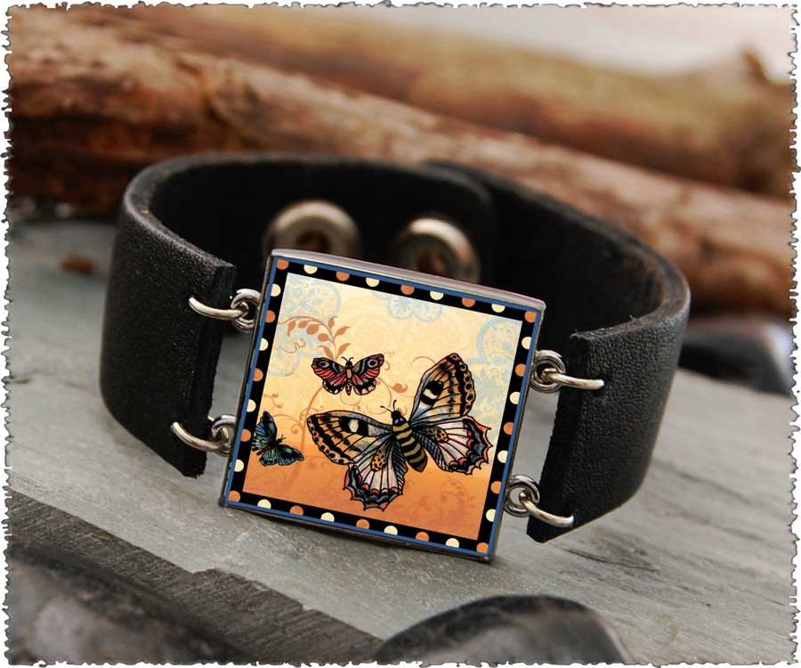 Orange Butterfly Double Sided Leather Cuff Bracelet