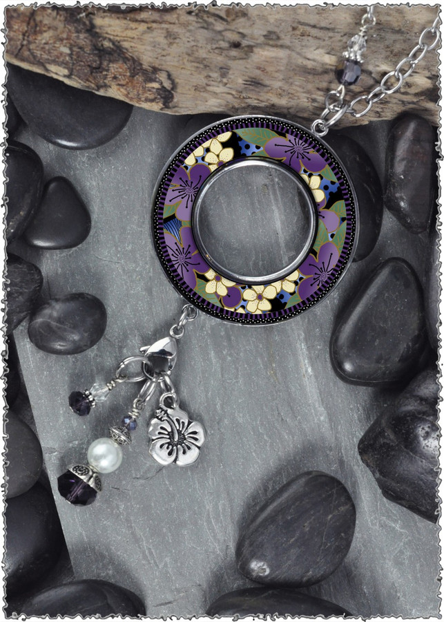 Purple Flower Reversible Beaded Open Circle Charm Pendant