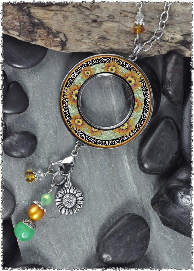 Sunflower Green Reversible Beaded Open Circle Charm Pendant