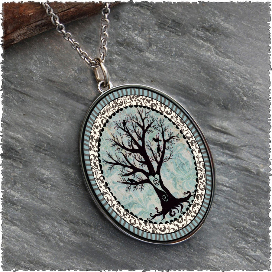 Tree of Life Reversible Silver Oval Pendant