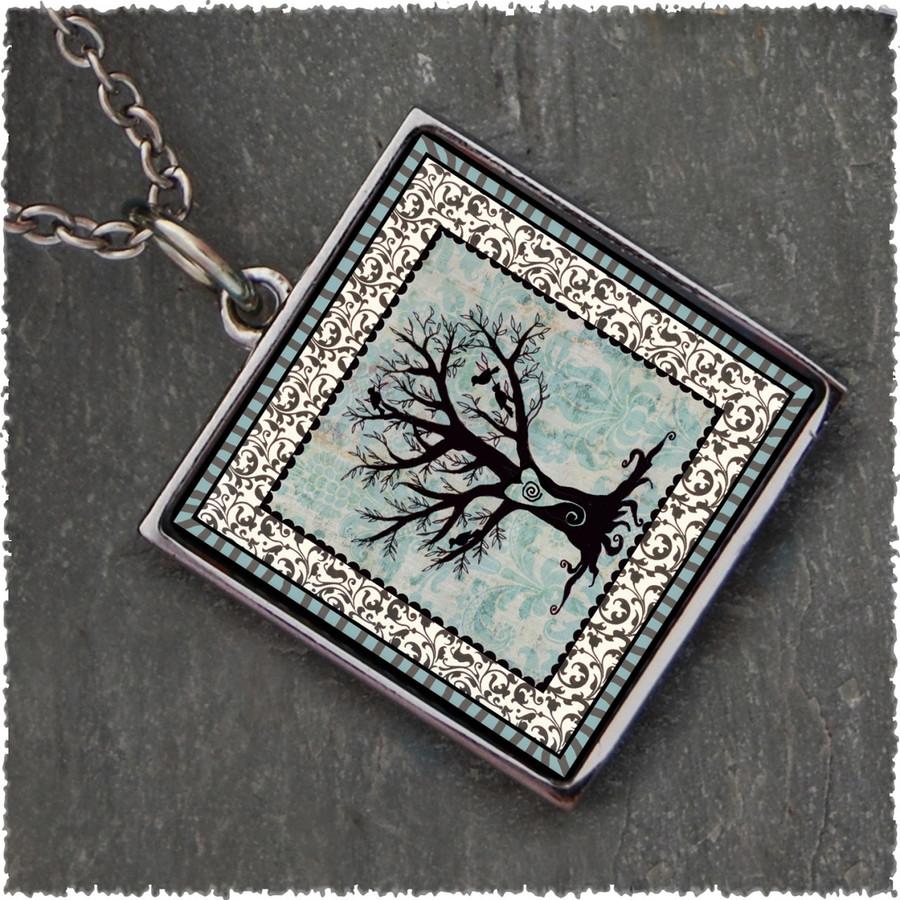 Tree of Life Square Reversible Pendant