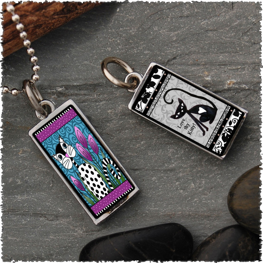 Black White Cat  Reversible Rectangular Pendant