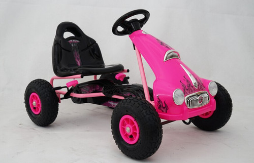 Princess - Rubber Wheel Go Kart / Cart - Pink - 3-8 Years