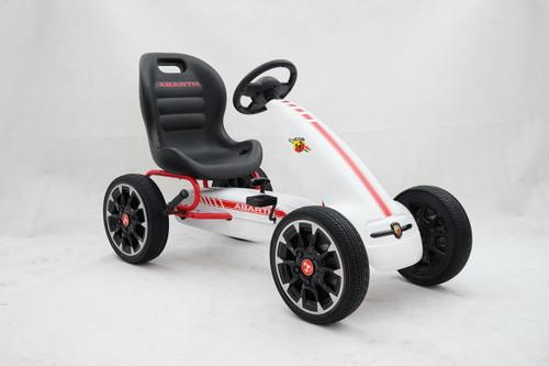 Licensed Abarth Pedal Go Kart (WHITE) - 3-9 YEARS (PB9388A-WHITE)