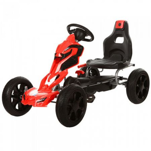 Thunder - Eva Rubber Wheel Tyres Go Kart / Cart - Red & Black- 4-10 Years (1504-RED)