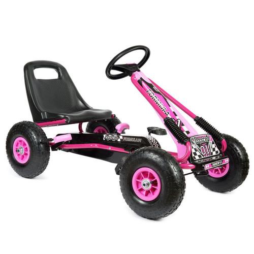Zoom - Rubber Wheel Go Kart / Cart - Pink & Black - 3-8 Years (A15-PINK)