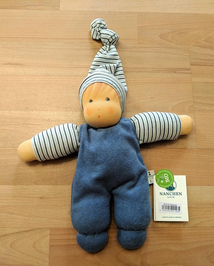 Nanchen Organic Wuschel Doll - Blue/Light Blue