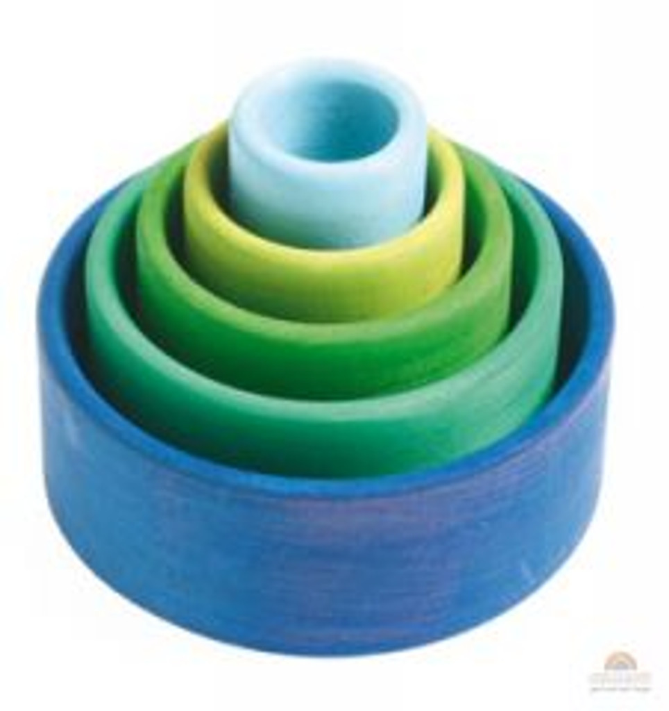 Grimm S Stacking And Nesting Bowls Oceanblue Grimm S Toys