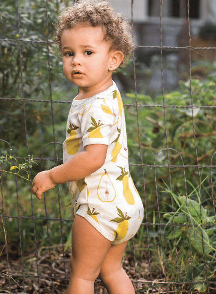 Milkbarn Organic Cotton Onesie Short-Sleeve - Pear