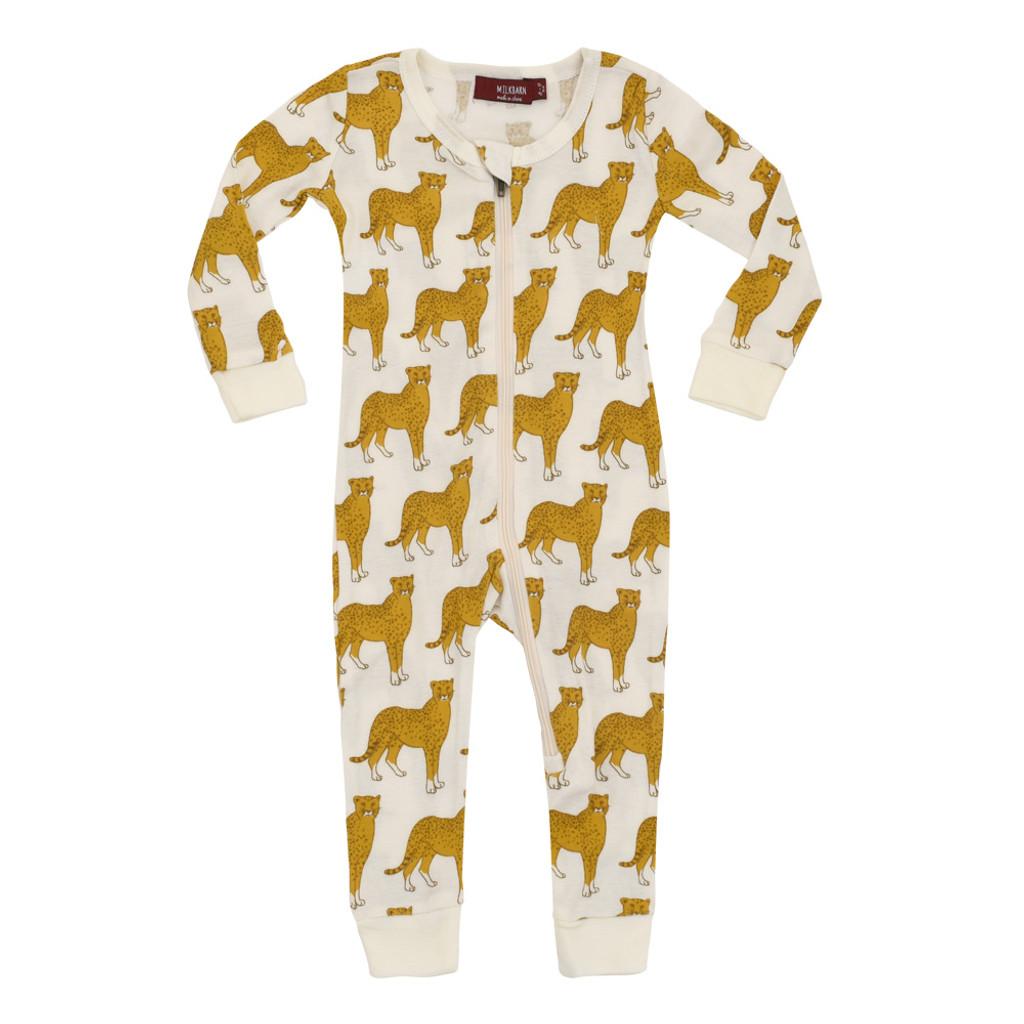 Milkbarn Organic Zipper Pajamas - Cheetah