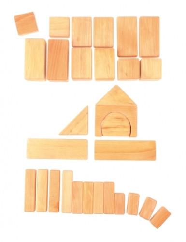 Grimm's 30 Wooden Geo Blocks - Natural