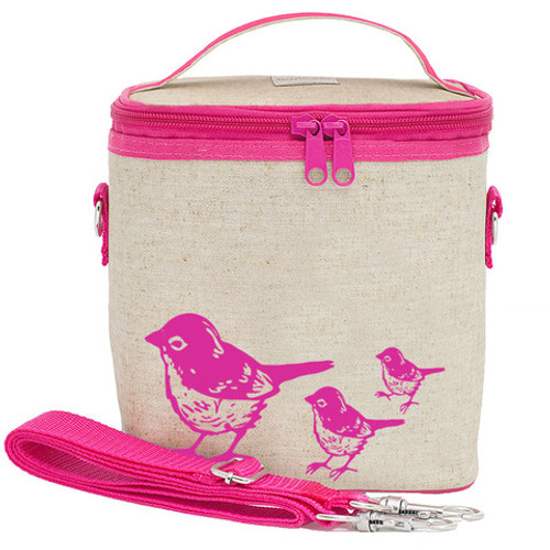 So Young Raw Linen Cooler Bag - Pink Birds