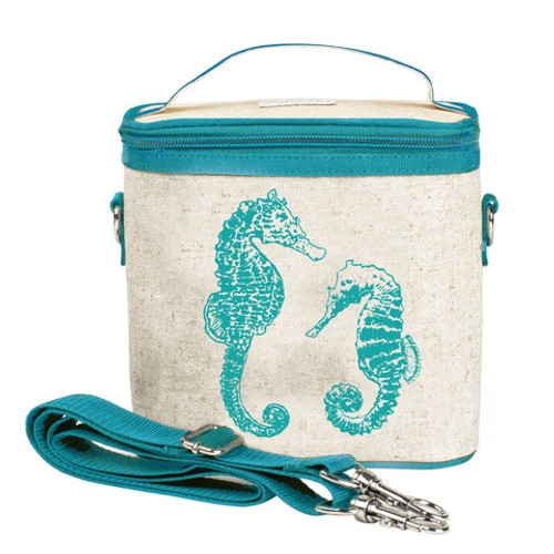 So Young Raw Linen Cooler Bag - Aqua Seahorse