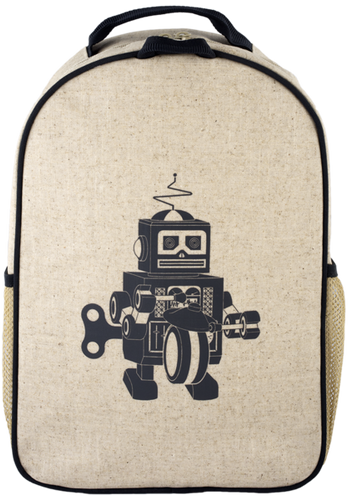 So Young Raw Linen Toddler Backpack - Grey Robot
