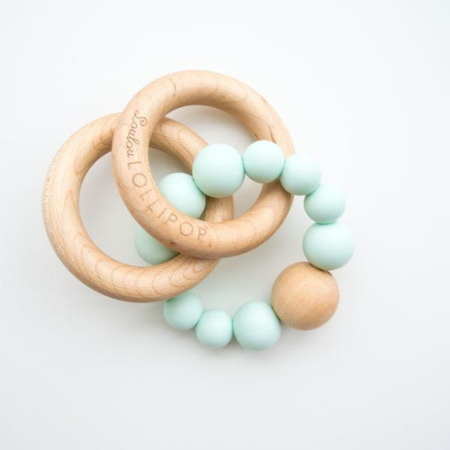 Teether by Loulou Lollipop - Wood and Silicone - Mint