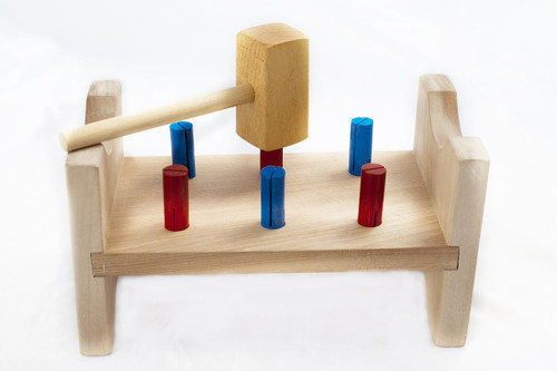 Wooden Pounding Block with Hammer