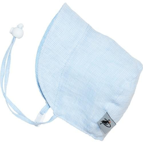 Puffin Gear Linen Bonnet - Sky Blue Check