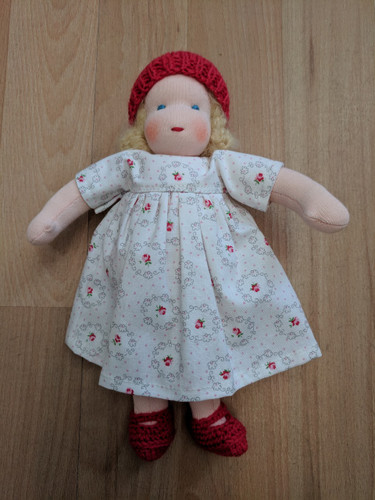 Handmade Dressable Doll with Red Hat and Blonde Hair
