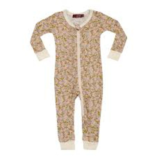 Milkbarn Bamboo Zipper Pajamas - Rose Floral