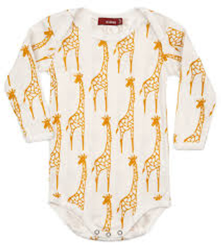 Milkbarn Organic Cotton Long Sleeve Onesie - Yellow Giraffe