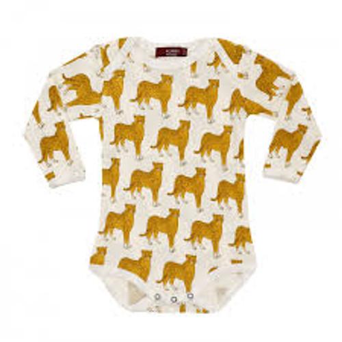 Milkbarn Organic Cotton Long Sleeve Onesie - Cheetah