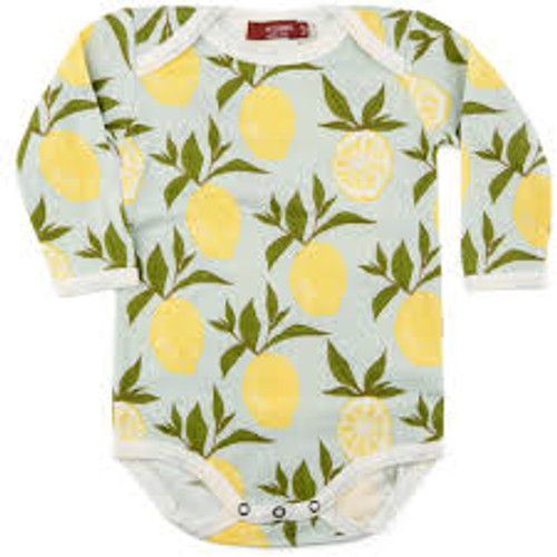 Milkbarn Organic Cotton Long Sleeve Onesie - Lemon
