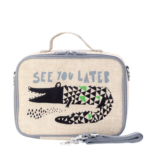 So Young Raw Linen Lunch Box - Alligator