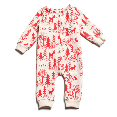 Winter Water Factory French Terry Jumpsuit - Winter Scenic Red