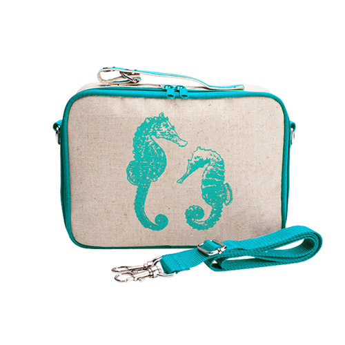 So Young Raw Linen Lunch Box - Seahorses
