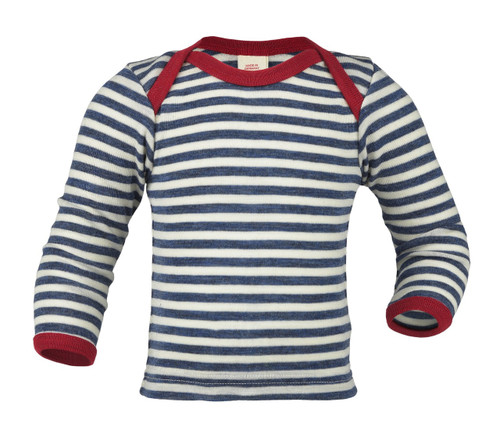 Engel Baby Shirt Organic Merino Wool - Blue Stripe with Red Trim