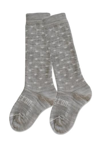 Lamington Knee-High Wool Socks Snowflakes (Light Grey/White Spots)