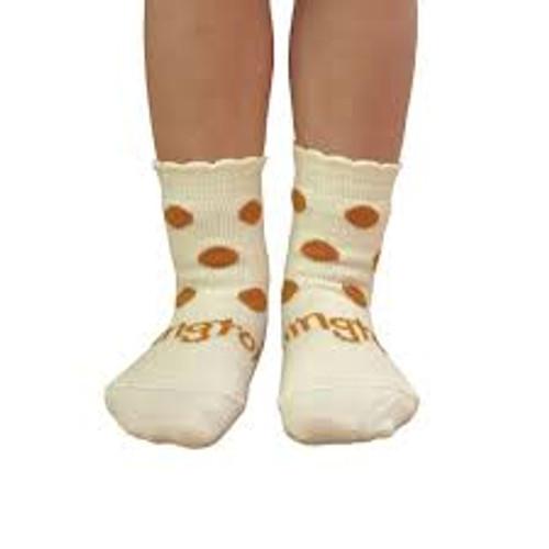 Lamington Crew Length Wool Socks Florence (Cream/Curry Spots)