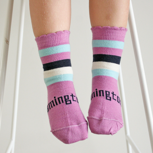 Lamington Crew Length Wool Socks Boysenberry Striped (only in size 4T-Youth)