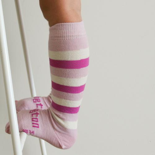 Lamington Knee-High Wool Socks Sorbet Pink Stripes