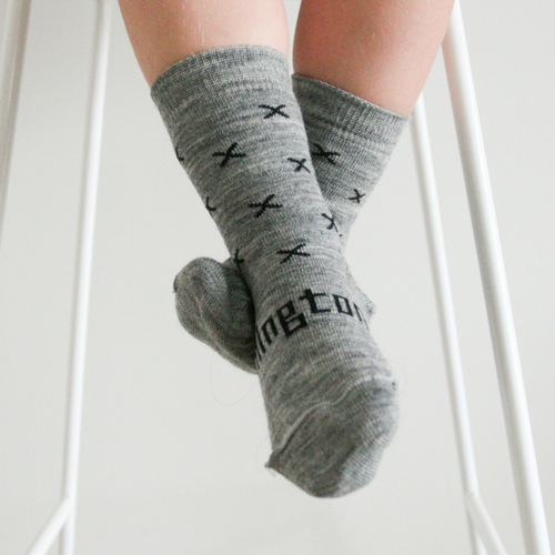 Lamington Crew Length Wool Socks Coop Grey X (only in size 4T-Youth)