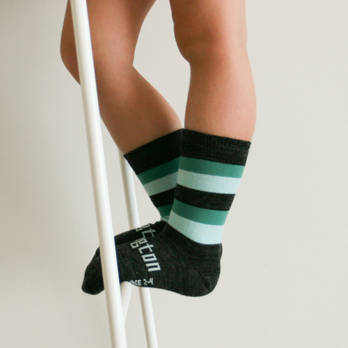 Lamington Crew Length Wool Socks Neptune Black/Green Stripes (only in size 4T-Youth)