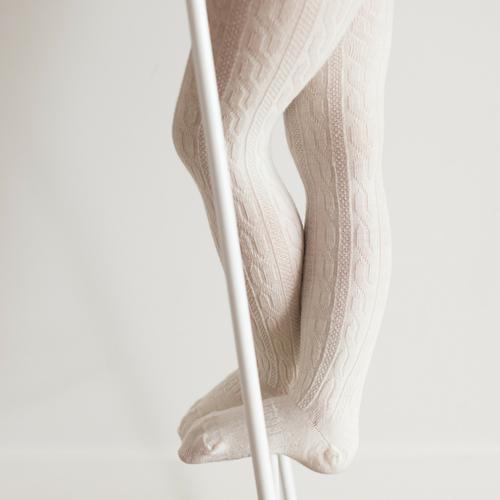 Lamington Merino Wool Tights Cable Knit - Natural