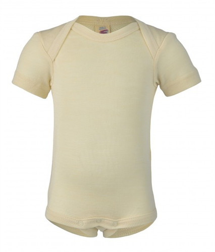 Engel Baby Short Sleeve Onesie Organic Merino Wool/Silk - Natural