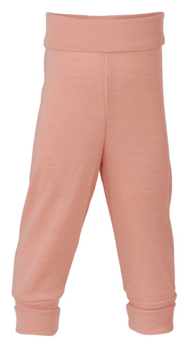 Engel Baby Pants with Waistband in Organic Merino Wool/Silk - Salmon