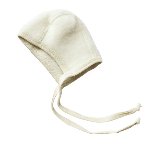 Engel Organic Merino Wool Fleece Baby Bonnet - Natural