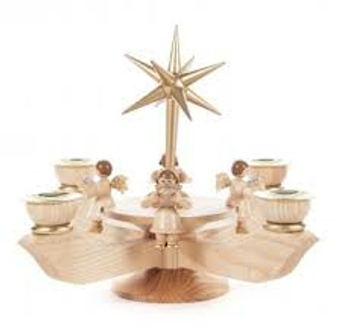 Advent Small Candle Holder Natural with Gold Star - Sitting Angels
