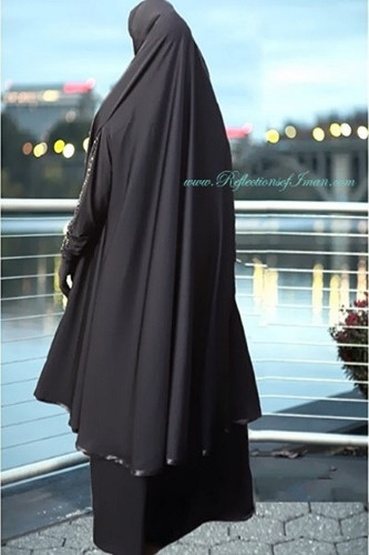 Satin Trim Black Knee Length Khimar