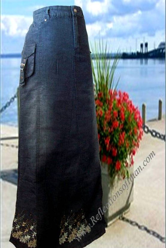 Cargo Pocket Long Denim Skirt