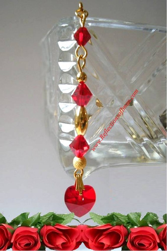 Heart of Swarovski Red  Dangle Hijab Pin