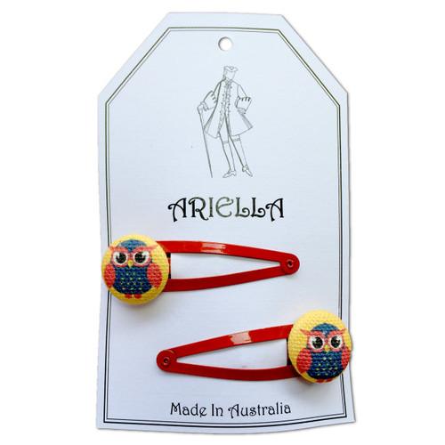 Ariella Owl Hair Clips Red
