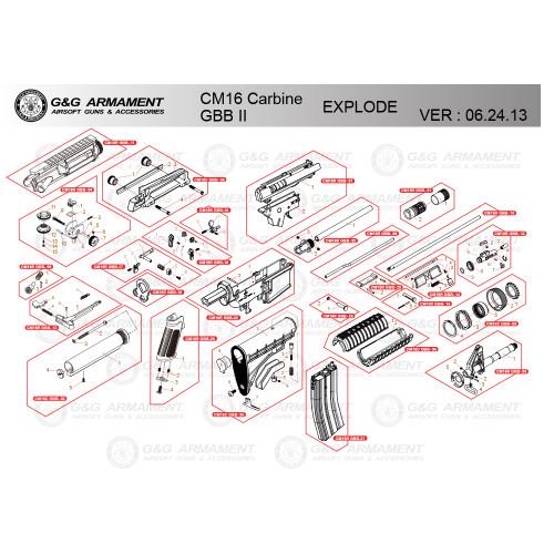 G&G AIRSOFT CM16 CARBINE GBB II RIFLE DIAGRAM
