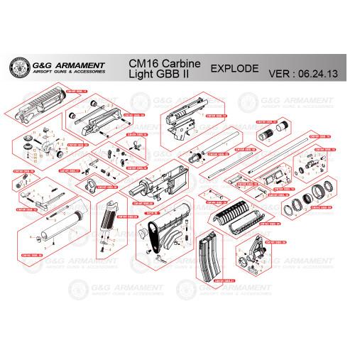 G&G AIRSOFT CM16 CARBINE LIGHT GBB II RIFLE DIAGRAM